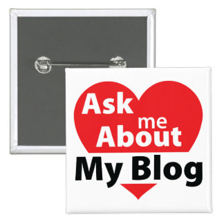 Ask Me About My Blog - Red 2 Inch Square Button
