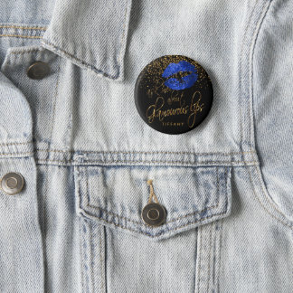 Ask Me About my Glamorous Lips - Blue 2 Inch Round Button