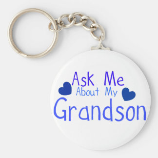 Ask me about my Grandson! Basic Round Button Keychain