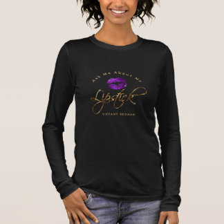 Ask Me about My Lipstick - Purple Long Sleeve T-Shirt