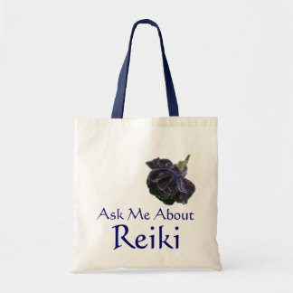 Ask Me About Reiki Purple Rose