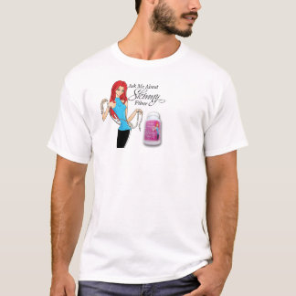 Ask Me About Skinny Fiber Chest Print White Tshirt