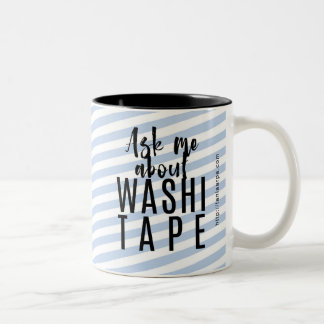 Ask Me About Washi Tape - Blue Candy Stripes Two-Tone Coffee Mug