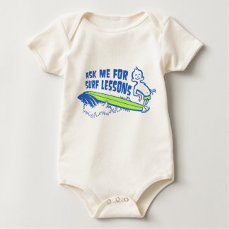 Ask Me For Surf Lessons! Blue Toddler Organic Jump Baby Bodysuit