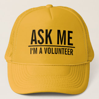 Ask Me | Yellow Volunteer Trucker Hat