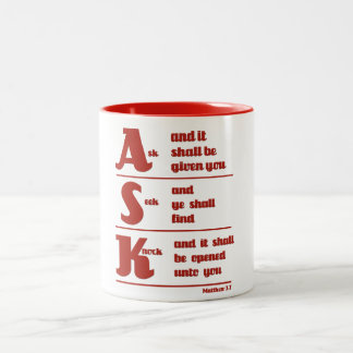 """Ask, Seek and Knock"" Mug"