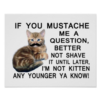 Ask The Kitten With A Mustache A Question Poster
