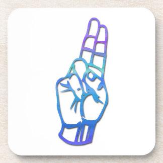 ASL Alphabet Letter U Beverage Coaster