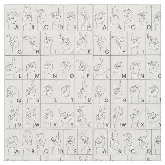 ASL American Sign Language Alphabet Pattern Fabric