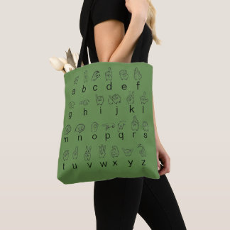 ASL American Sign Language Fingerspell Alphabet Tote Bag