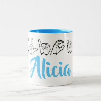 ASL American Sign Language Fingerspelled Alicia Two-Tone Coffee Mug