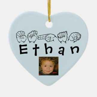 ASL American Sign Language Fingerspelled Ethan Ceramic Ornament