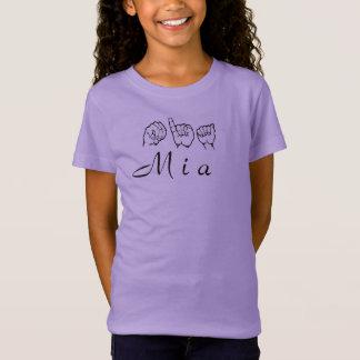 ASL American Sign Language Fingerspelled Mia T-Shirt