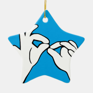 ASL American Sign Language INTERPRET Ceramic Star Ornament