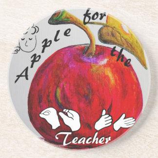 ASL Apple for the Teacher Coaster
