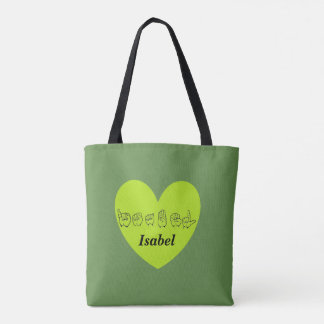 ASL Custom Name Isabel Fingerspell Alphabet Tote Bag