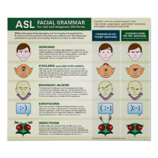 ASL Facial Grammar for various life forms. poster