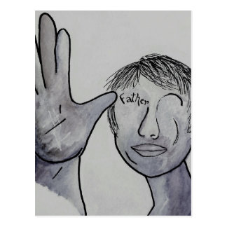 ASL Father in Denim Colors Postcard