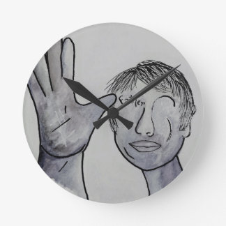 ASL Father in Denim Colors Round Clock