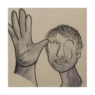ASL Father in Denim Colors Wood Print