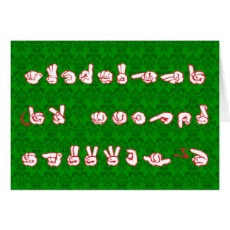 ASL Graffiti No L Red for Christmas on Green Damas Note Card