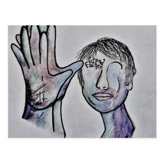 ASL Grandfather in Denim Colors Postcard