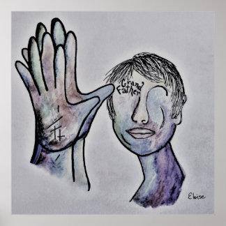 ASL Grandfather in Denim Colors Poster
