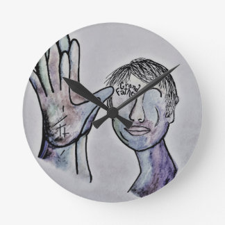 ASL Grandfather in Denim Colors Round Clock