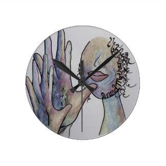 ASL Grandmother in Denim Colors Round Clock