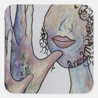 ASL Grandmother in Denim Colors Square Sticker