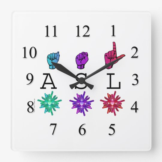 ASL Hands and Flowers Square Wall Clock