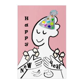 ASL Happy New Year Acrylic Wall Art
