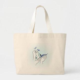 ASL I Am Blessed Large Tote Bag