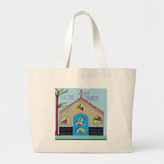 ASL I Love my Church Large Tote Bag