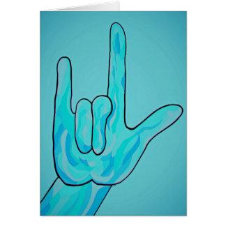 ASL I Love You Baby Blue Card