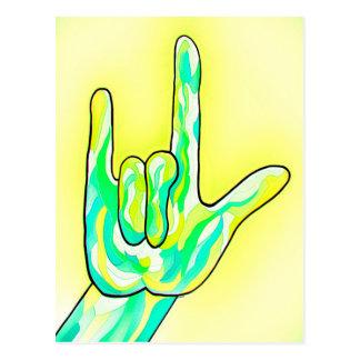 ASL I Love You Baby Yellow Postcard