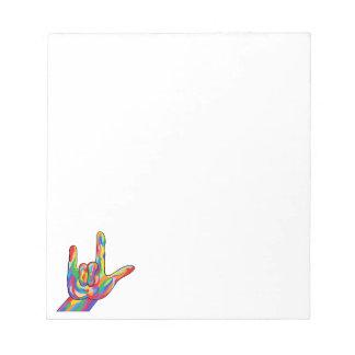 ASL I Love You BOLD COLOR Notepad