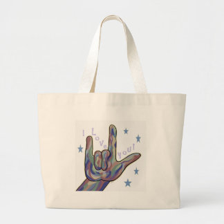 ASL I Love You Denim and Camouflage Colors Large Tote Bag