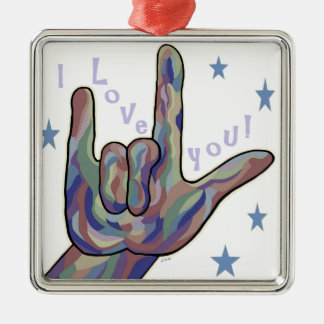ASL I Love You Denim and Camouflage Colors Metal Ornament