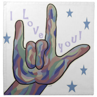 ASL I Love You Denim and Camouflage Colors Napkin
