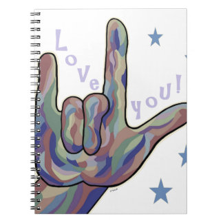 ASL I Love You Denim and Camouflage Colors Note Books