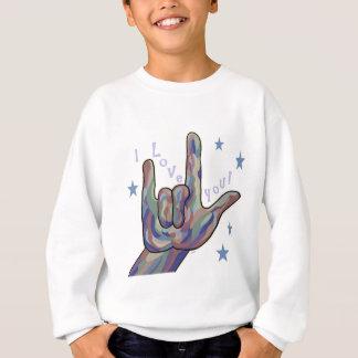 ASL I Love You Denim and Camouflage Colors Sweatshirt