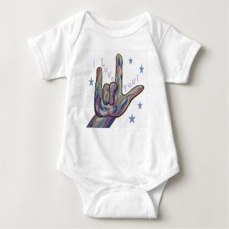 ASL I Love You Denim and Camouflage Colours Baby Bodysuit