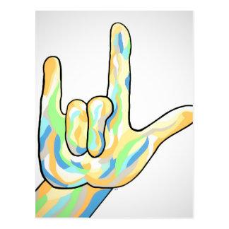 ASL I Love You Gray Postcard