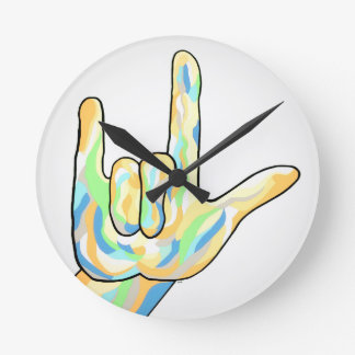 ASL I Love You Gray Round Clock