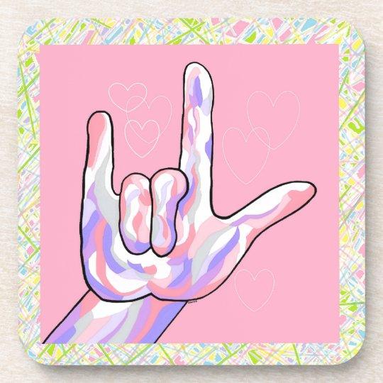 ASL I Love You in PINK Coaster