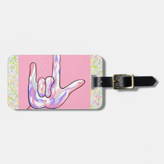 ASL I Love You in PINK Luggage Tag