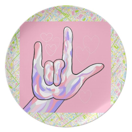 ASL I Love You in PINK Plate