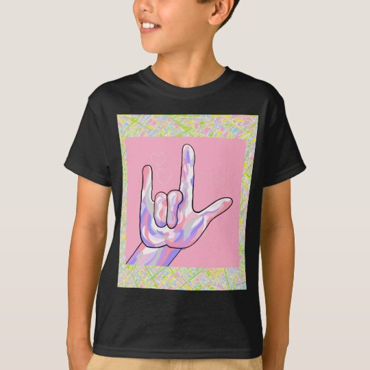 ASL I Love You in PINK T-Shirt