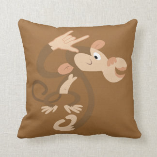 ASL I Love You Monkey Throw Pillow